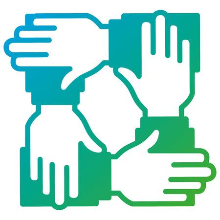 Illustration pour businesspeople hands teamwork icon vector illustration design - image libre de droit