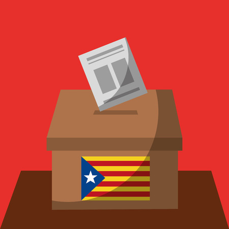 Illustration pour vote box ballot catalonia flag separatism government vector illustration - image libre de droit