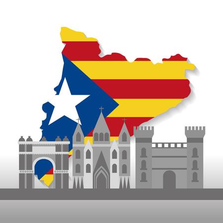 Ilustración de catalonia barcelona with flag map and buildings symbol set vector illustration - Imagen libre de derechos