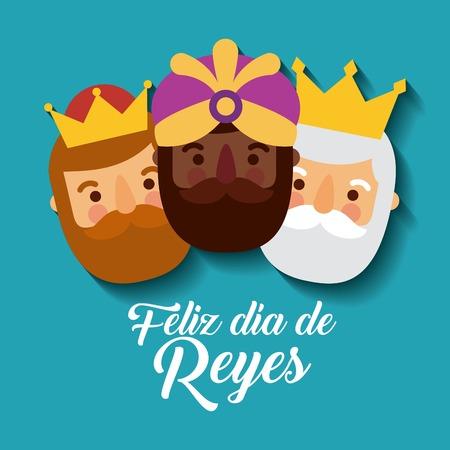Ilustración de feliz dia de los reyes three magic kings bring presents to jesus vector illustration - Imagen libre de derechos