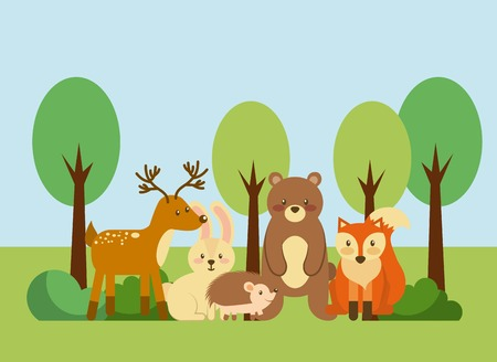 Illustration pour forest and animals wildlife natural vector illustration - image libre de droit