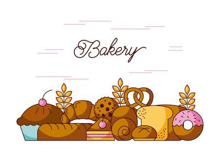 Ilustración de bakery elements product ingredient dessert and pastry food vector illustration - Imagen libre de derechos