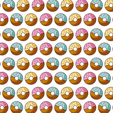 Illustration for sweet donut dessert pastry seamless pattern vector illustration - Royalty Free Image