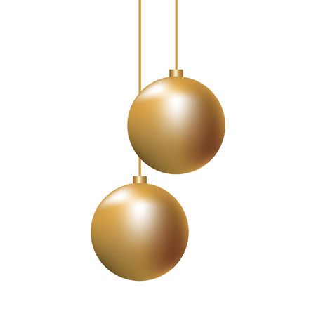 Ilustración de christmas golden balls hanging decoration elegance vector illustration - Imagen libre de derechos