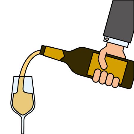 Illustration pour waiter hand holding a wine bottle and pouring glasses of wine vector illustration - image libre de droit