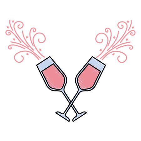 Illustration for pair of champagne glass cheers drink sparkles vector illustration - Royalty Free Image