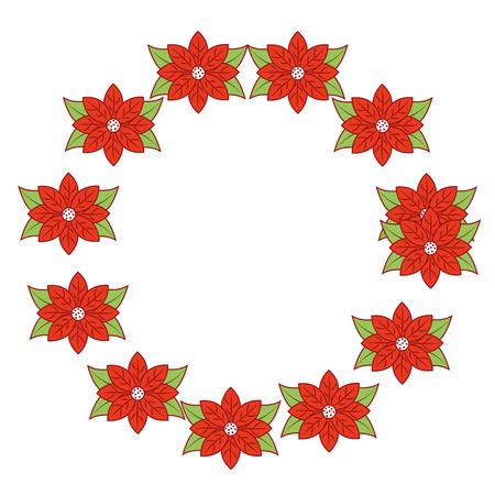 Illustration pour christmas wreath poinsettia and leaves plant celebration vector illustration - image libre de droit