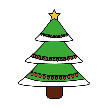 Illustration for green christmas tree decoration traditional holiday vector illustration - Royalty Free Image