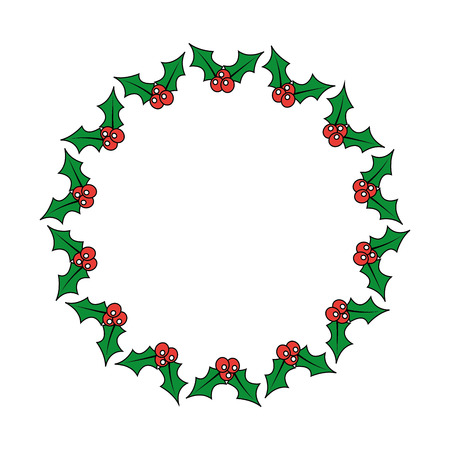 Illustration for christmas wreath holly berries decoration festive vector illustration - Royalty Free Image