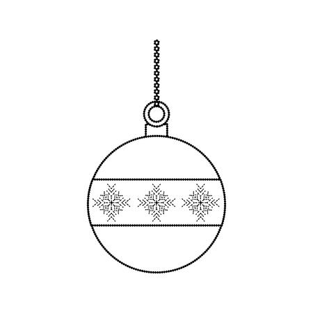 Ilustración de ball christmas related icon image vector illustration design  black dotted line - Imagen libre de derechos