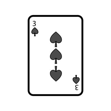Ilustración de three of spades playing card theme casino vector illustration - Imagen libre de derechos