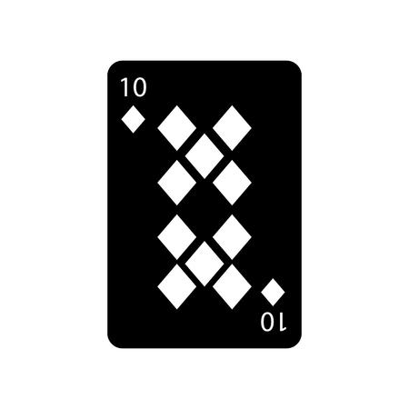 Ilustración de ten of diamonds or tiles french playing cards related icon icon image vector illustration design  black and white - Imagen libre de derechos