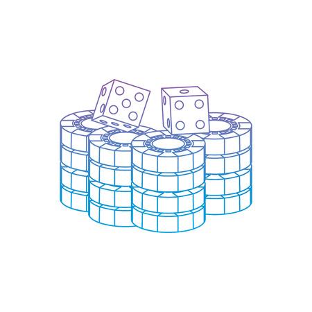Ilustración de stacked chips and dice for game in the casino vector illustration - Imagen libre de derechos