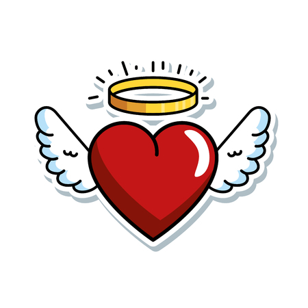Illustration for cute heart with wings and halo vector illustration design - Royalty Free Image