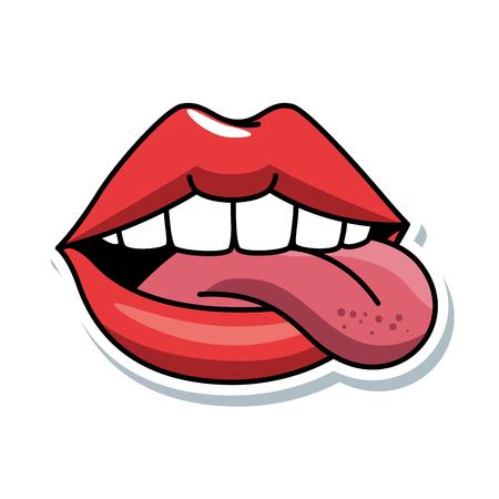 Ilustración de pop art lips with tongue out vector illustration design - Imagen libre de derechos