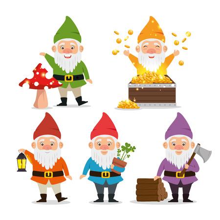 Illustration pour set of fantastic character cute dwarfs vector illustration graphic design - image libre de droit