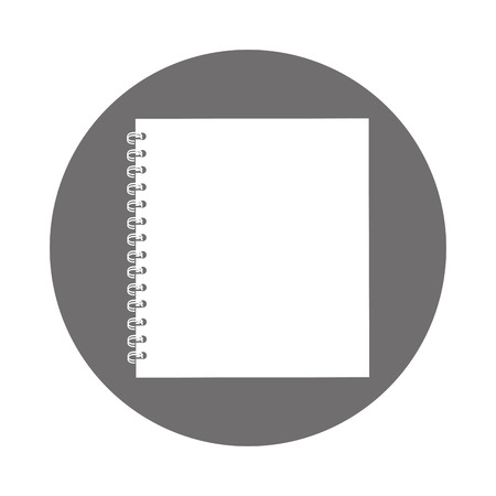 Illustration for round icon grey open notebook cartoon vector graphic design - Royalty Free Image