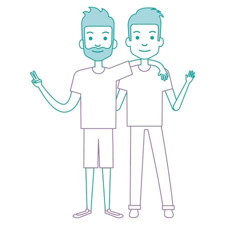 Ilustración de couple of male friends avatars vector illustration design - Imagen libre de derechos