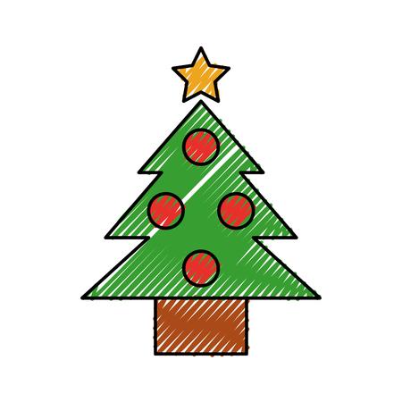Illustration for christmas tree pine ball star decoration vector illustration - Royalty Free Image