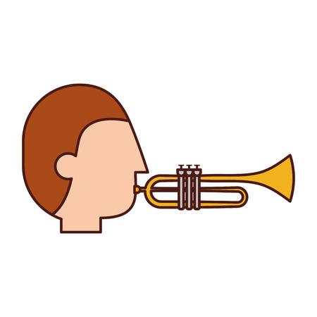 Illustration pour musician character trumpet jazz music festival vector illustration - image libre de droit