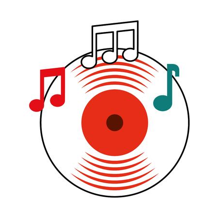 Ilustración de music vinyl disk note music sound vintage vector illustration - Imagen libre de derechos