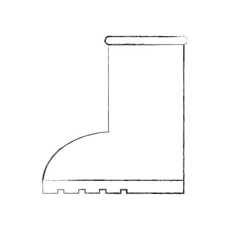 Ilustración de rubber boot rain seasonal icon style on white background vector illustration - Imagen libre de derechos