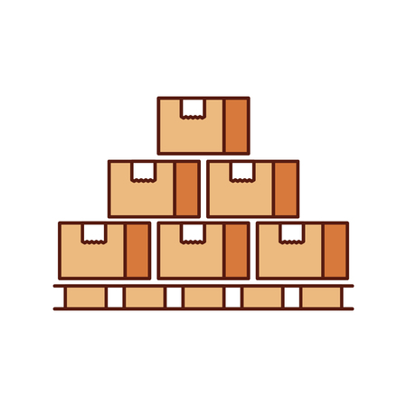 Illustration for boxes on wood pallet closed carton delivery packaging fragile vector illustration - Royalty Free Image