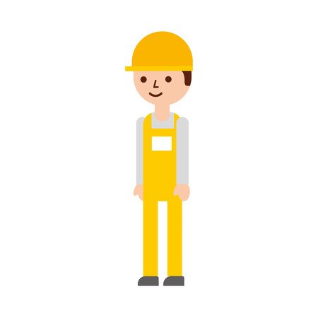 Illustration pour logistic worker man cartoon with uniform and helmet vector illustration - image libre de droit