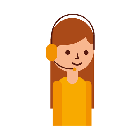 Ilustración de logistic delivery support phone operator in headset icon vector illustration - Imagen libre de derechos