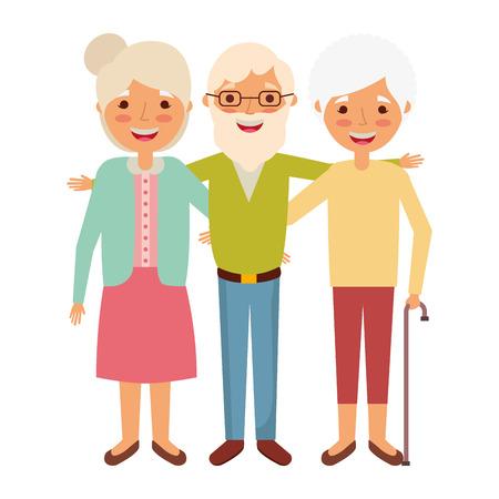 Ilustración de Old man with women embracing together and smiling vector illustration - Imagen libre de derechos