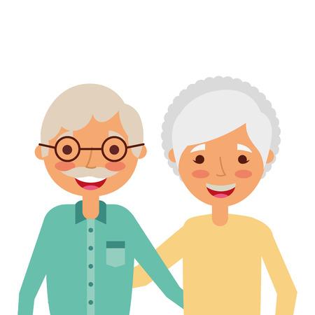 Ilustración de Portrait of elderly couple embracing happy adorable vector illustration - Imagen libre de derechos