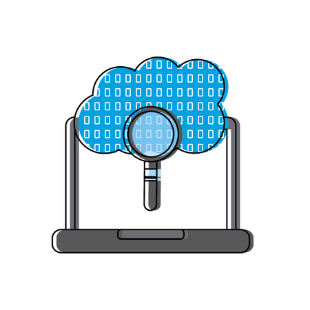 Illustration pour laptop cloud binary search process storage info vector illustration - image libre de droit