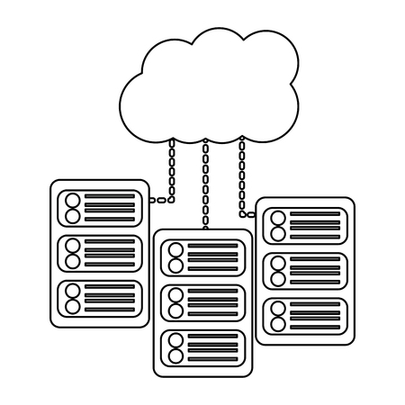 Ilustración de set of data base server cloud connect binary development process vector illustration - Imagen libre de derechos
