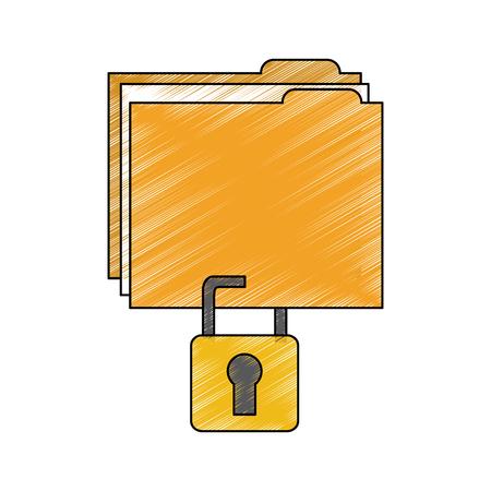 Ilustración de file folder with safety lock  icon image vector illustration design  - Imagen libre de derechos