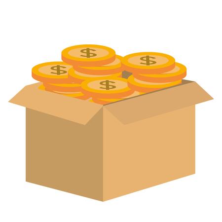 Ilustración de carton box with coins vector illustration design - Imagen libre de derechos