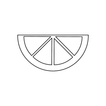 Ilustración de lime lemon orange  wedge icon image vector illustration design  black line - Imagen libre de derechos