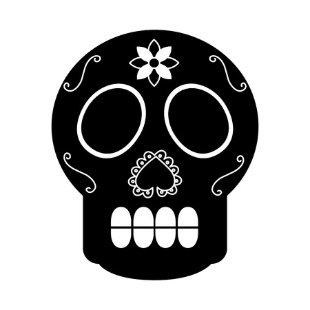Illustration for skull the day of the death mexican traditional culture vector illustration - Royalty Free Image