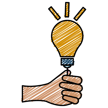 Ilustración de Hand human with bulb light vector illustration icon flat design - Imagen libre de derechos