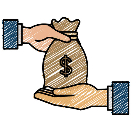 Illustration for Hand with money bag flat icon vector illustration design - Royalty Free Image