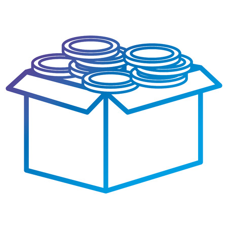 Illustration for Carton box with coins flat icon vector illustration design - Royalty Free Image