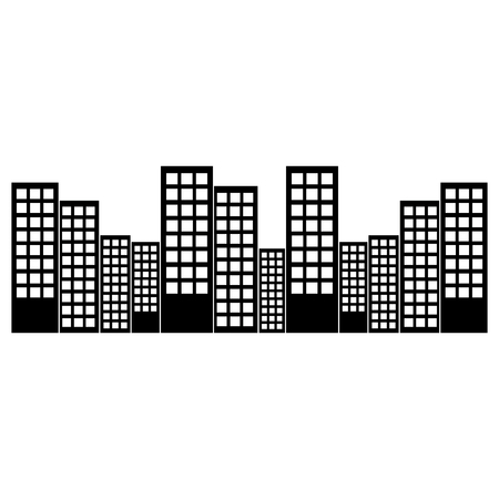 Illustration pour city skyline buildings icon image vector illustration design  black and white - image libre de droit