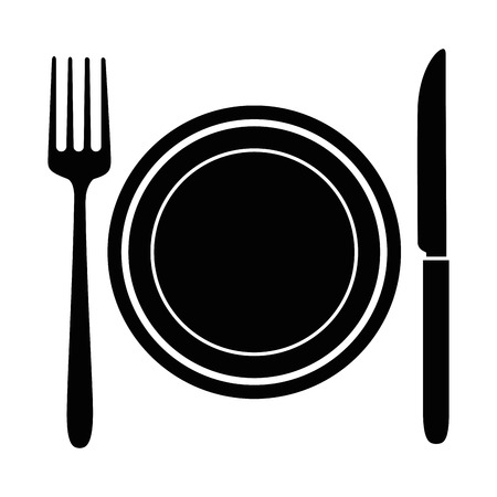 Illustration pour Dish with fork and knife vector illustration design - image libre de droit