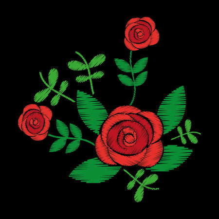 Ilustración de embroidery roses floral leaves pattern fashion on black background vector illustration - Imagen libre de derechos