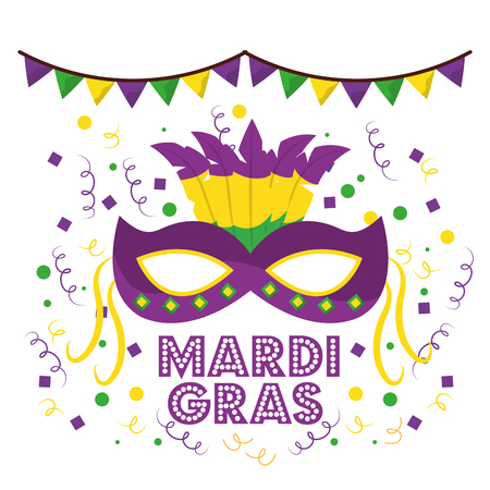 Illustration for mardi gras carnival masks with feathers garland confetti decoration white background vector illustration - Royalty Free Image