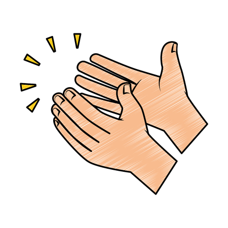 Illustration pour Hands applauding isolated icon vector illustration design. - image libre de droit