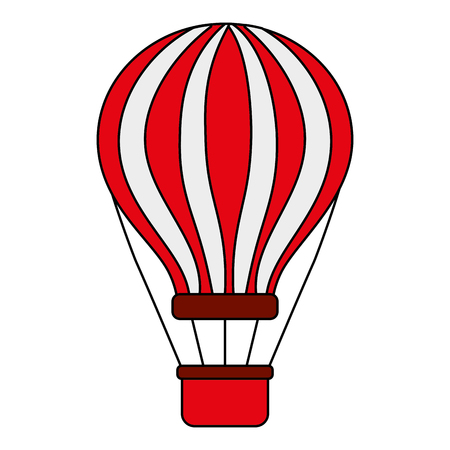 Ilustración de red and white airballoon with basket recreation adventure vector illustration - Imagen libre de derechos