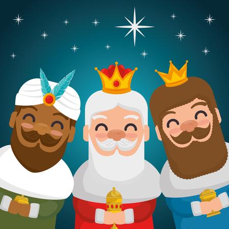 Ilustración de the three magic kings of orient wise men vector illustration graphic design  - Imagen libre de derechos