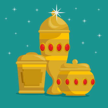 Illustration pour baby jesus gifts from the three magic kings vector illustration graphic design  - image libre de droit