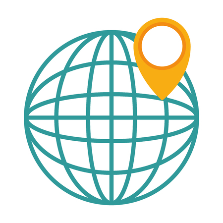 Illustration for sphere planet with pointer vector illustration design - Royalty Free Image