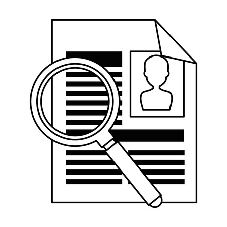 Illustration for curriculum vitae with magnifying glass vector illustration design - Royalty Free Image